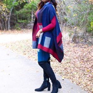 Cozy Plaid Wrap Poncho